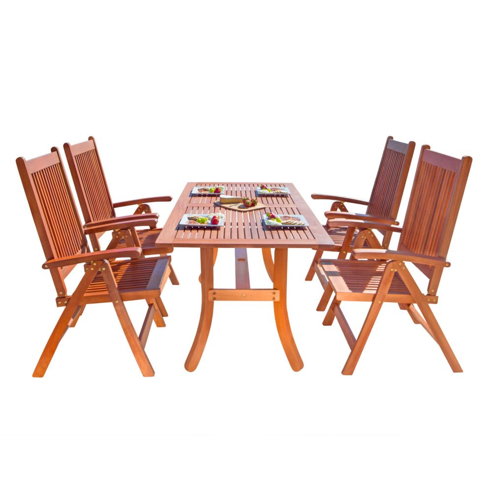 Vifah Malibu Outdoor Patio 5-piece Wood Dining Set with Curvy Leg Table and Reclining Chairs