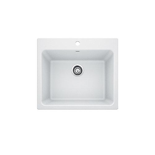LIVEN LAUNDRY Sink, 12 inch Deep Single Bowl, Dual-Mount - White SILGRANIT Granite Composite