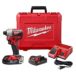 Milwaukee Tool M18 18V Li-Ion Brushless Cordless 1/4inch Impact Driver Kit w/ 2) 2.0 Ah Batteries, Charger & Hard Case