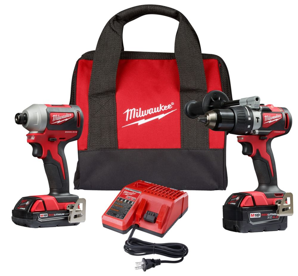 Milwaukee Tool M18 18V Lithium-Ion Brushless Cordless Hammer Drill/Impact Combo Kit (2-Tool) with 2 Batteries