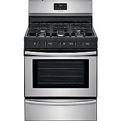 cuisinière à gaz de 30 po. 4,2 pi. cu. avec table de cuisson à 5 brûleurs en acier inoxydable