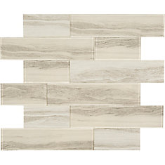 Glass Grey marble Oblong 11.4 X 11.6 Single Sheet Peel and Stick