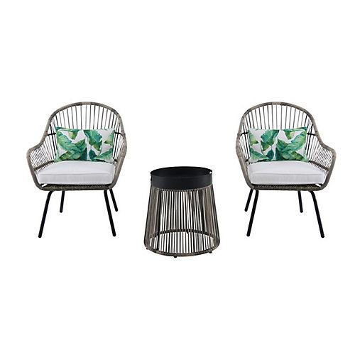 Tyler Steel Wicker 3-Piece Patio Chat Set with Metal-Top Table