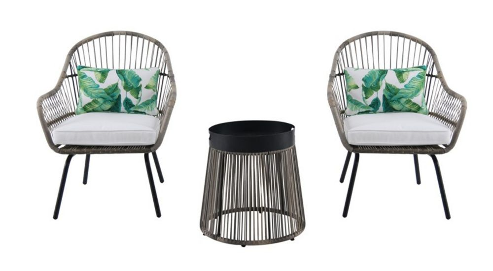 Hampton Bay Tyler Steel Wicker 3-Piece Patio Chat Set with Metal-Top Table