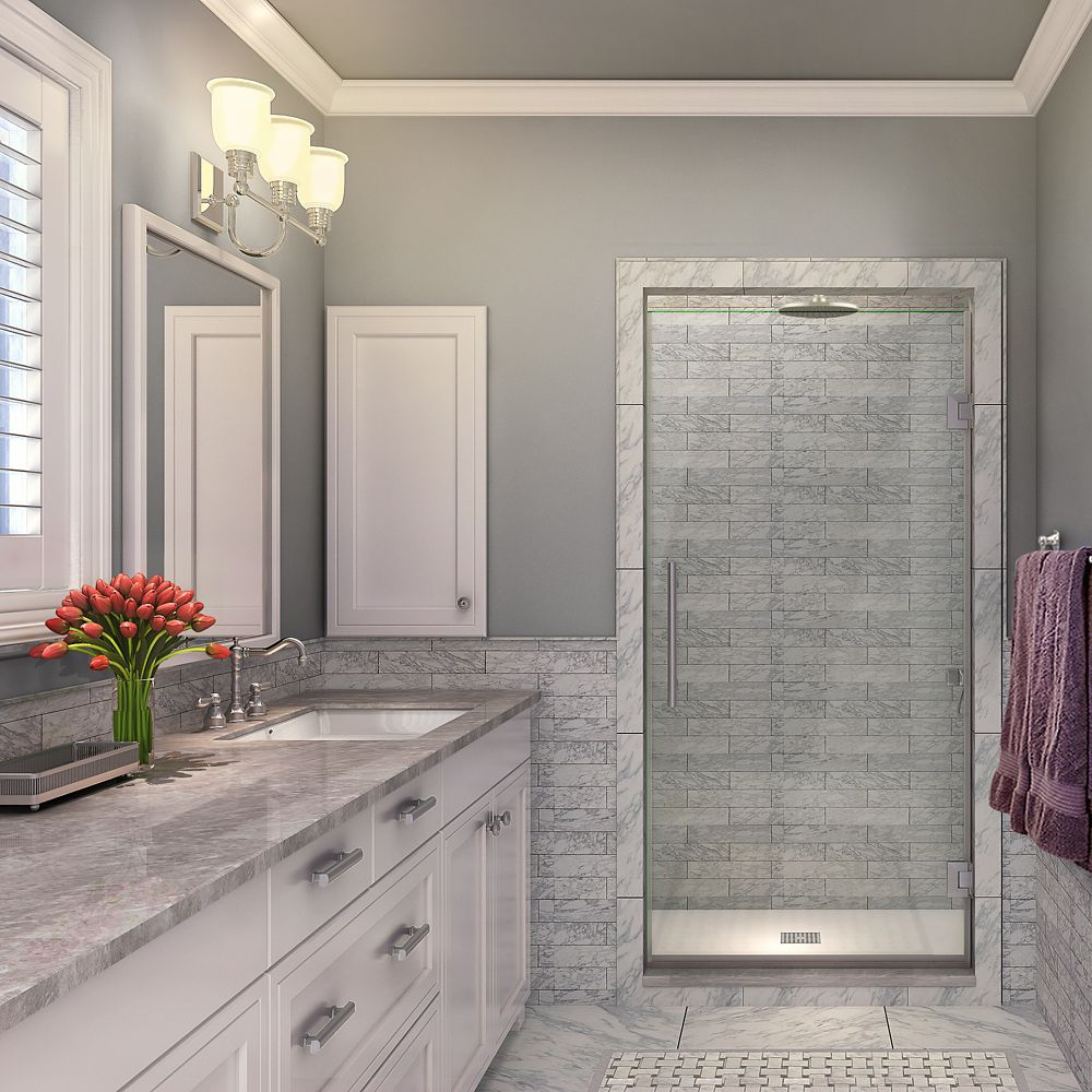 Kinkade 35.75 inch to 36.25 inch x 72 inch Frameless Hinged Shower Door in Stainless Steel
