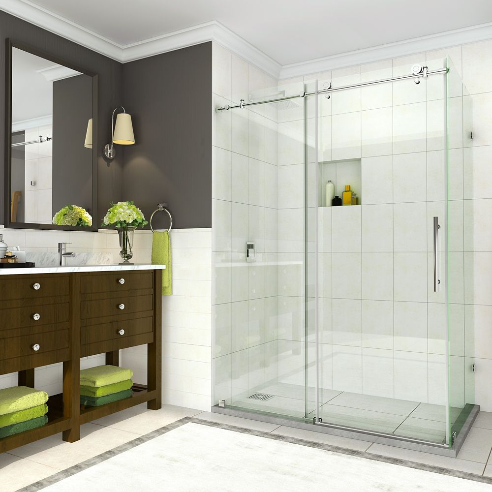 Aston Coraline 56 inch to 60 inch x 33.875 inch x 76 inch Frameless Sliding Shower Enclosure in Chrome