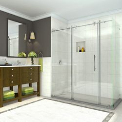 Aston Coraline 68 inch to 72 inch x 33.875 inch x 76 inch Frameless Sliding Shower Enclosure in Chrome