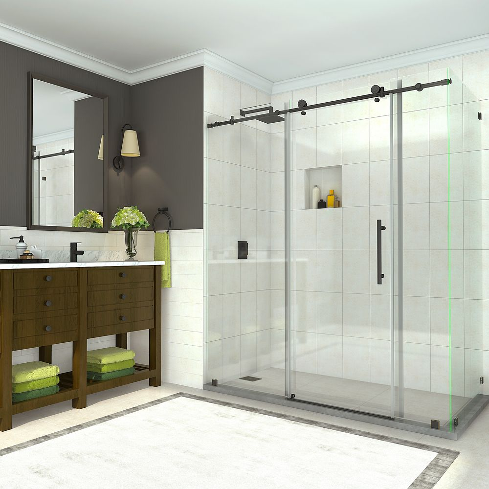 Coraline 68 - 72 x 33.875 x 76 inch Frameless Sliding Shower Enclosure in Oil Rubbed Bronze