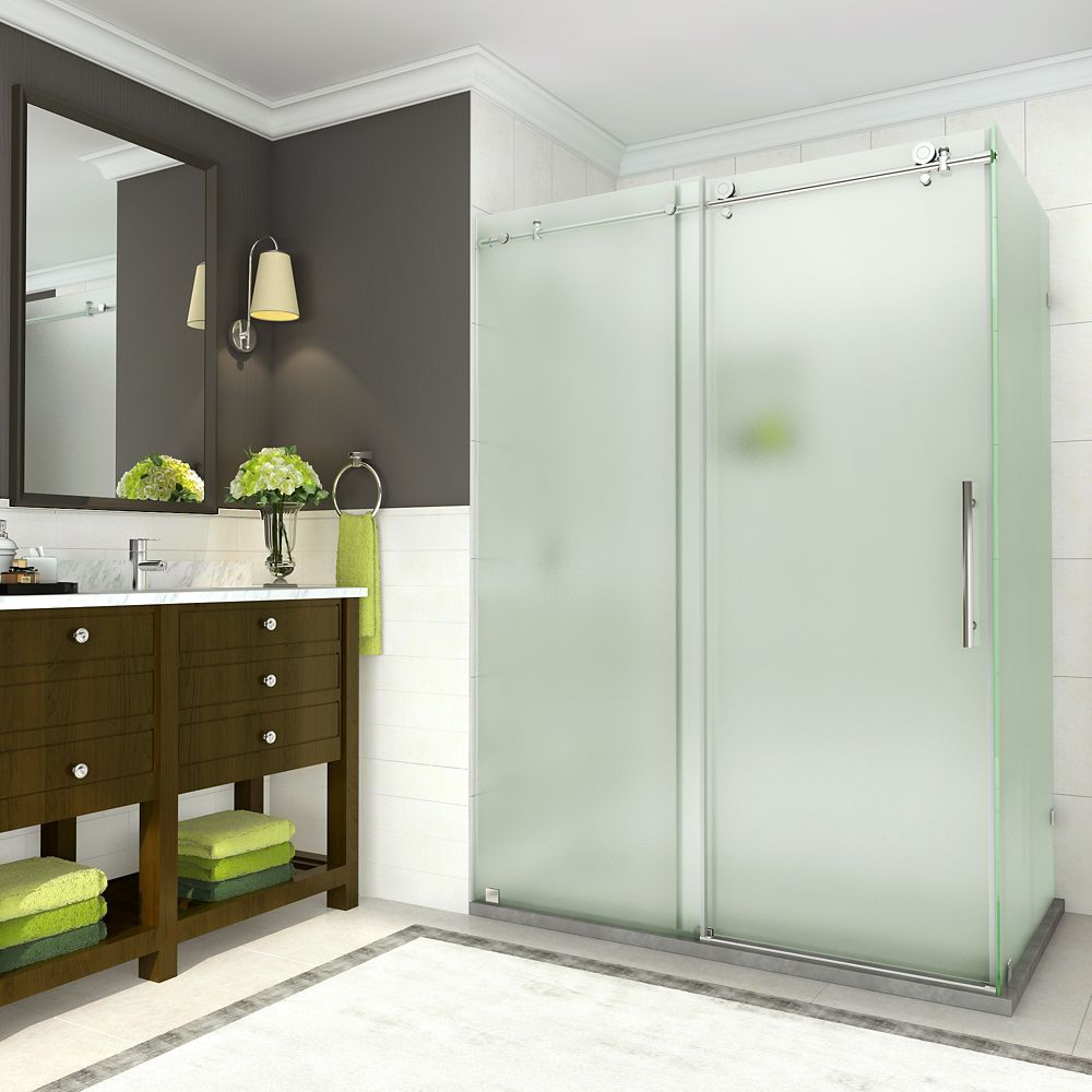 Coraline 56 - 60 x 33.875 x 76 inch Frameless Sliding Shower Enclosure, Frosted, Chrome
