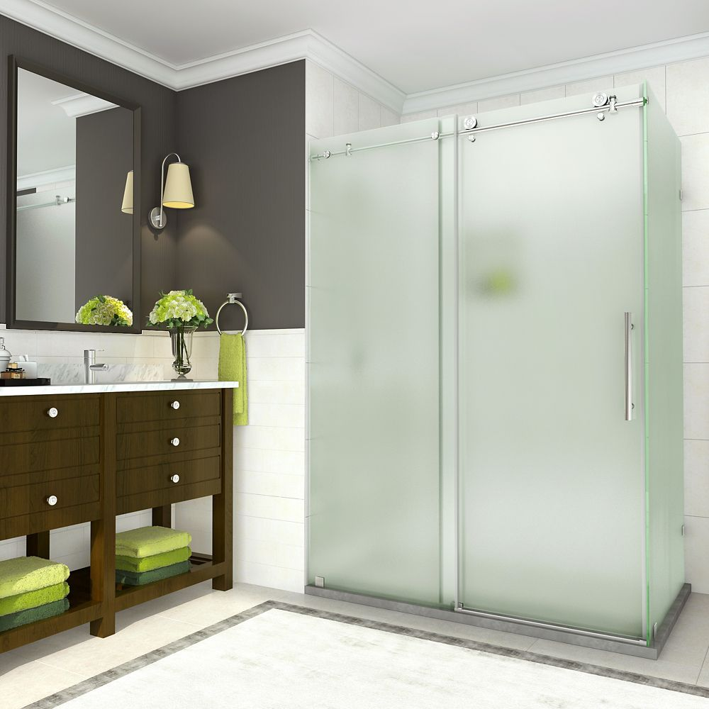 Aston Coraline 56 - 60 x 33.875 x 76 inch Frameless Sliding Shower Enclosure, Frosted, Stainless Steel