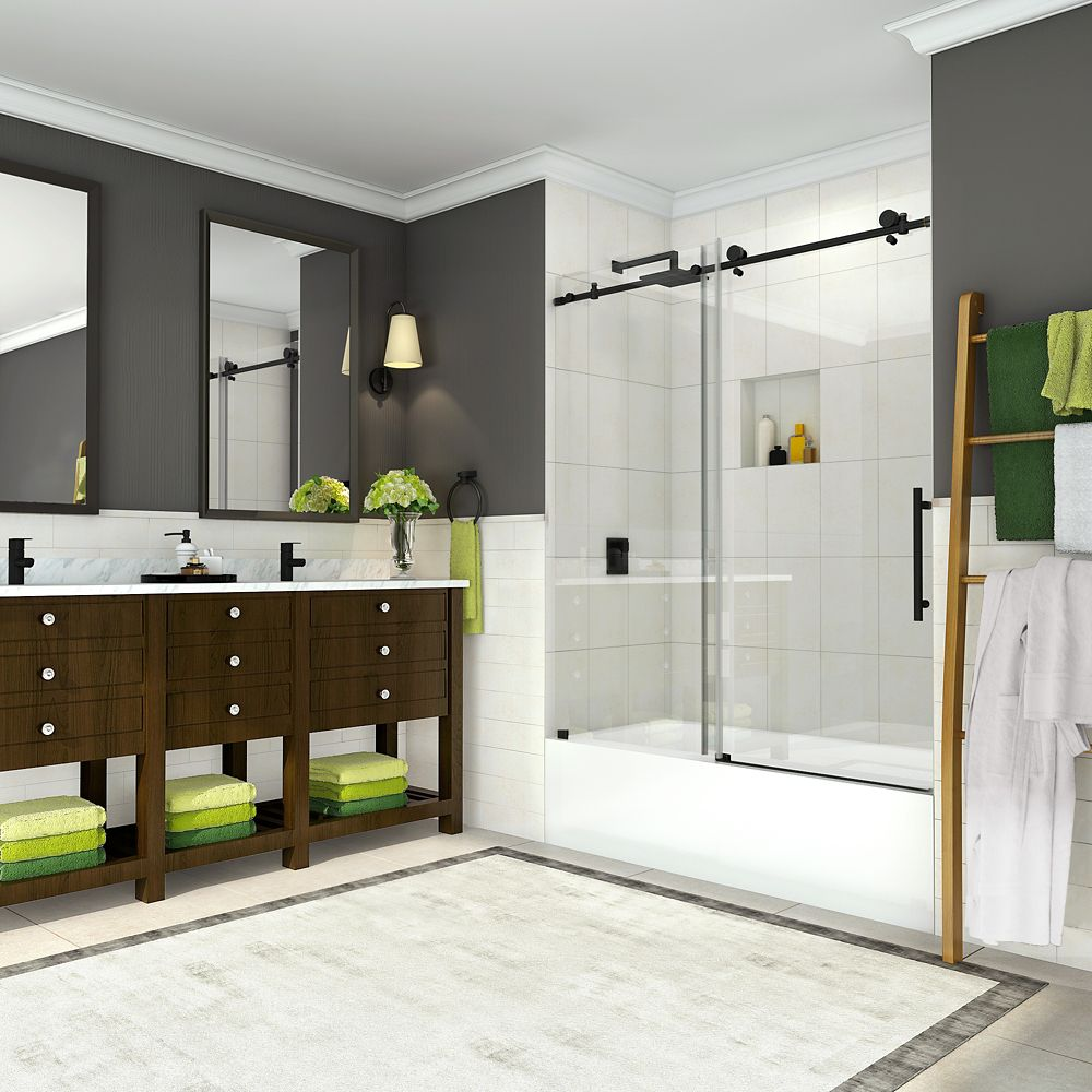 Aston Coraline 56 inch to 60 inch x 60 inch Frameless Sliding Tub Door in Oil Rubbed Bronze