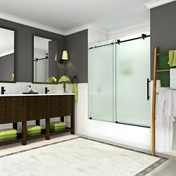Aston Coraline 56 to 60 inch x 60 inch Frameless Sliding Tub Door with Frosted Glass in Oil Rubbed Bronze