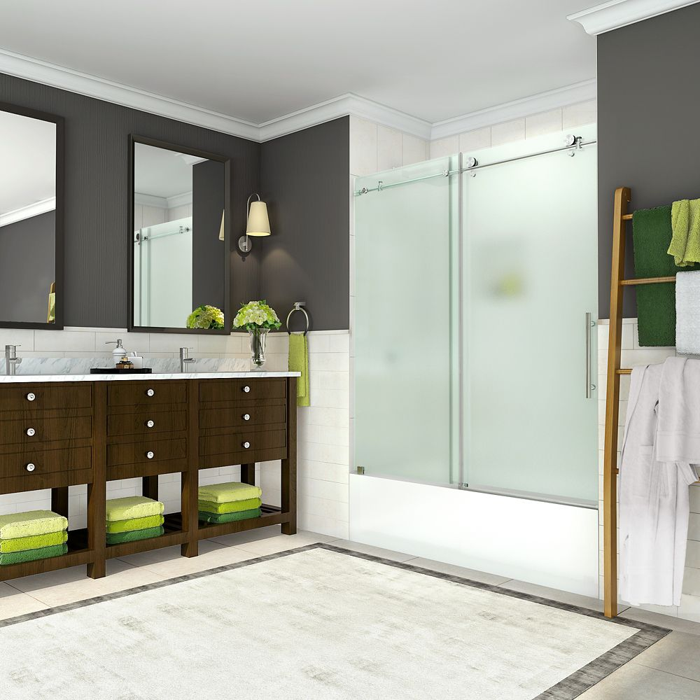 Coraline 56 inch to 60 inch x 60 inch Frameless Sliding Tub Door with Frosted Glass in Stainless Steel