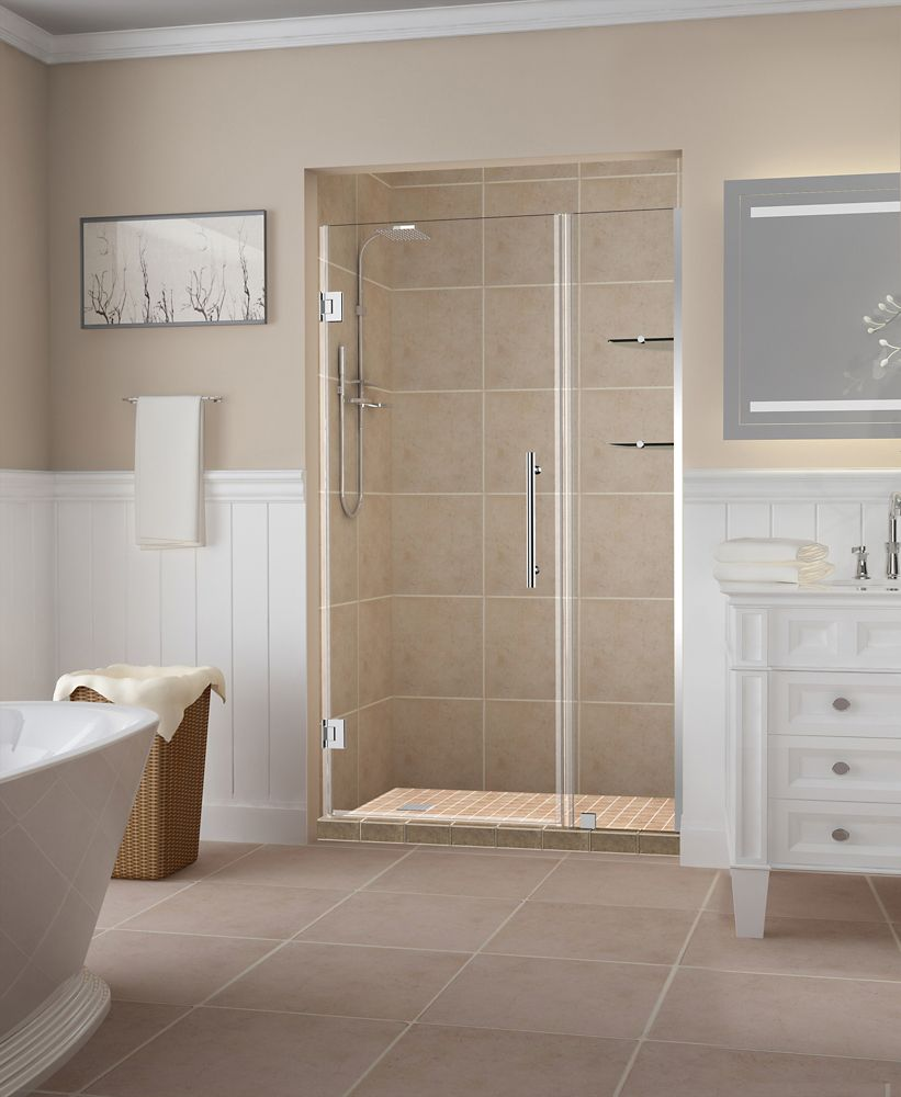 Aston Belmore GS 43.25 inch to 44.25 inch x 72 inch Frameless Hinged Shower Door with Glass Shelves in Chrome