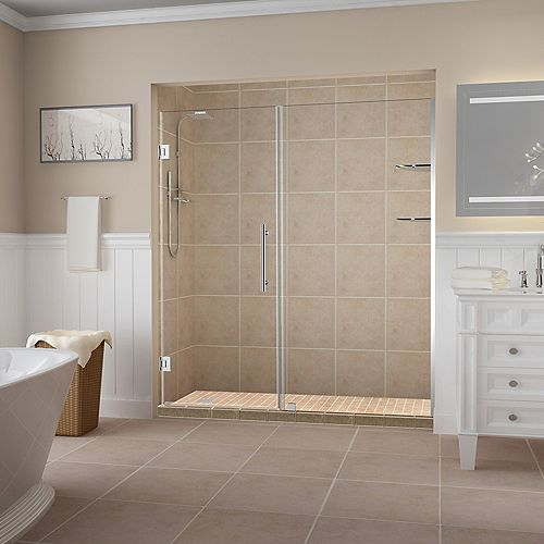 Aston Belmore GS 64.25 inch to 65.25 inch x 72 inch Frameless Hinged Shower Door with Glass Shelves in Chrome
