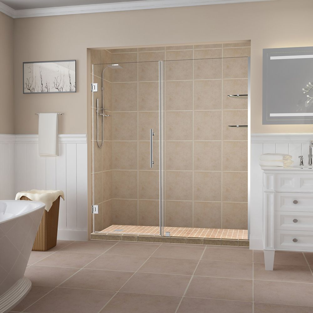 Belmore GS 69.25 inch to 70.25 inch x 72 inch Frameless Hinged Shower Door with Glass Shelves in Chrome
