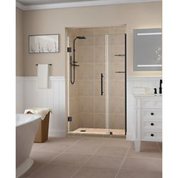 Aston Belmore GS 44.25 - 45.25 inch x 72 inch Frameless Hinged Shower Door w/  Shelves in Oil Rubbed Bronze