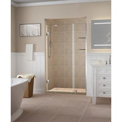 Aston Belmore GS 37.25 - 38.25 inch x 72 inch Frameless Hinged Shower Door w/  Shelves in Stainless Steel
