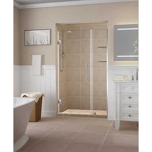 Aston Belmore GS 40.25 - 41.25 inch x 72 inch Frameless Hinged Shower Door w/  Shelves in Stainless Steel