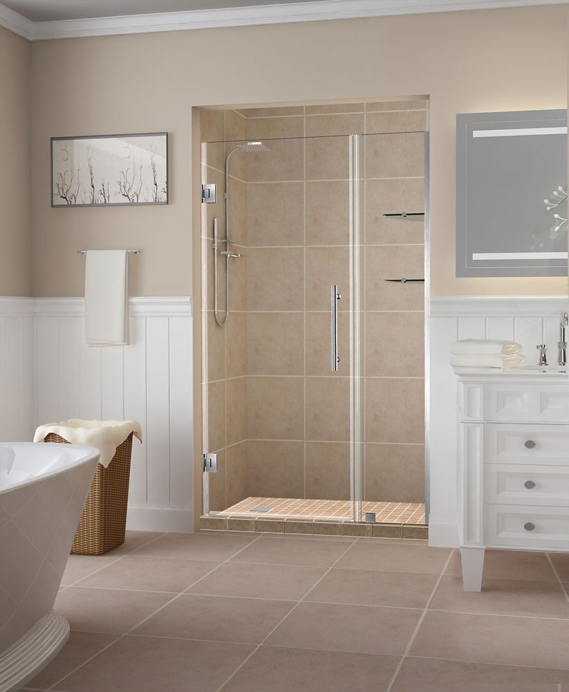 Belmore GS 51.25 - 52.25 inch x 72 inch Frameless Hinged Shower Door w/  Shelves in Stainless Steel