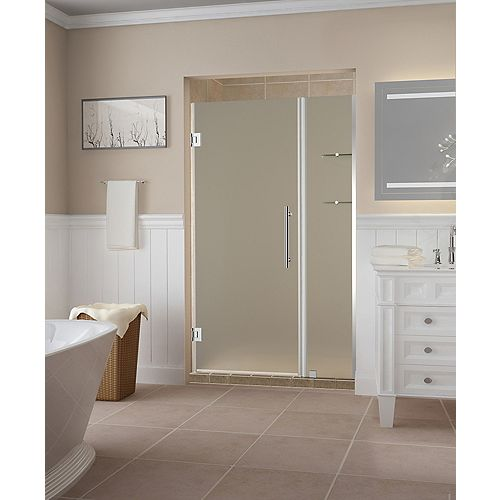 Aston Belmore GS 44.25 - 45.25 x 72 inch Frameless Hinged Shower Door w/ Frosted Glass and Shelves, Chrome