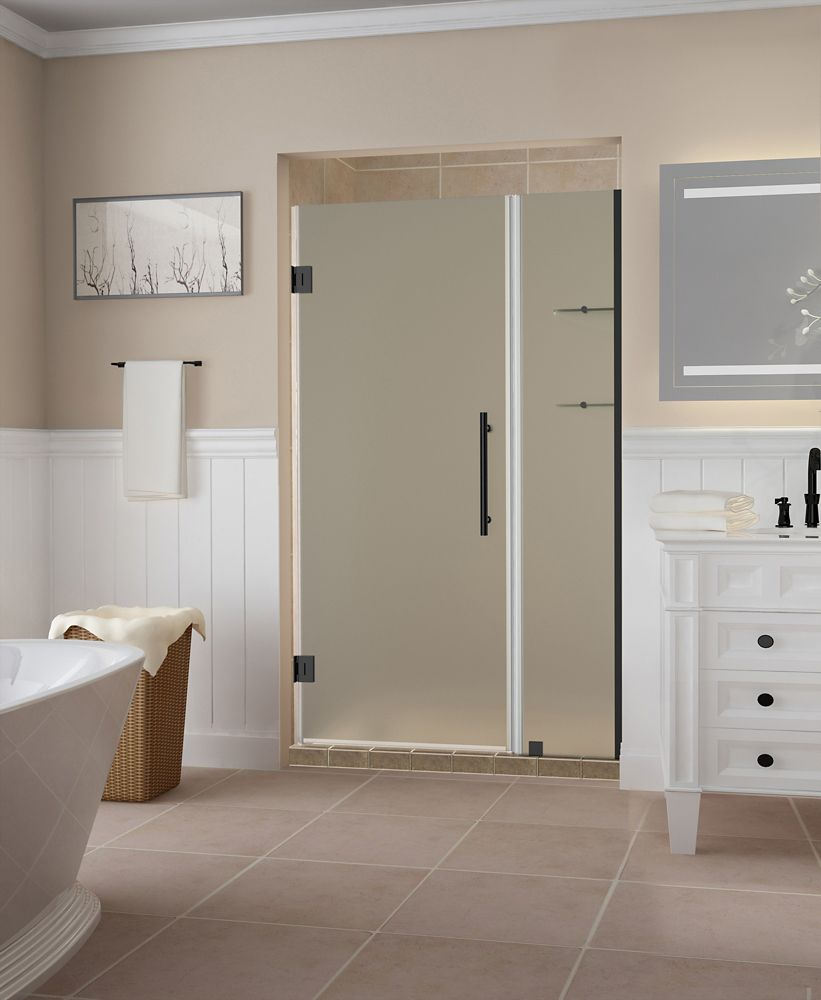 Aston Belmore GS 37.25 - 38.25 x 72 inch Frameless Hinged Shower Door w/ Shelves, Frosted,Oil Rubbed Bronze