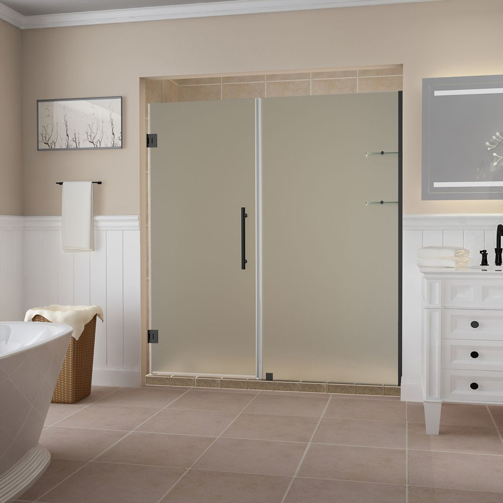 Belmore GS 63.25 - 64.25 x 72 inch Frameless Hinged Shower Door w/ Shelves, Frosted,Oil Rubbed Bronze