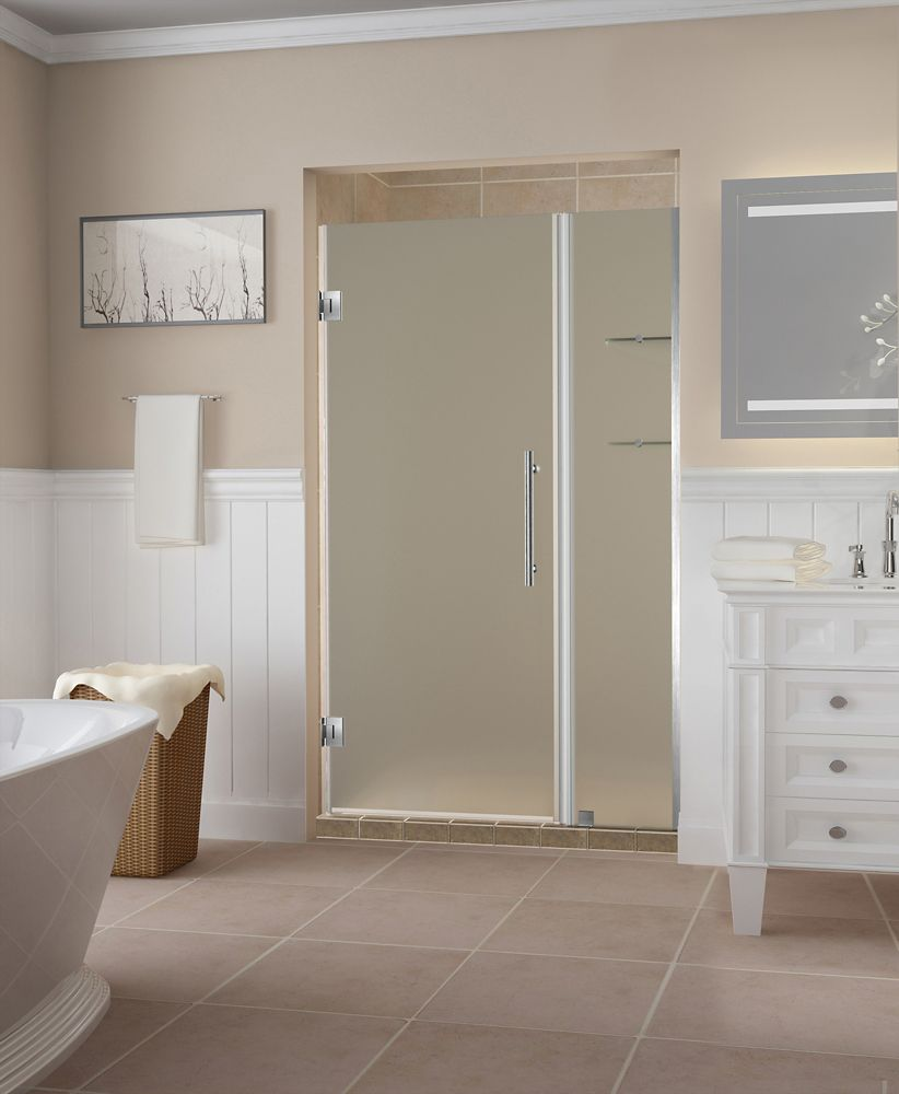 Aston Belmore GS 41.25 - 42.25 x 72 inch Frameless Hinged Shower Door w/ Shelves, Frosted, Stainless Steel