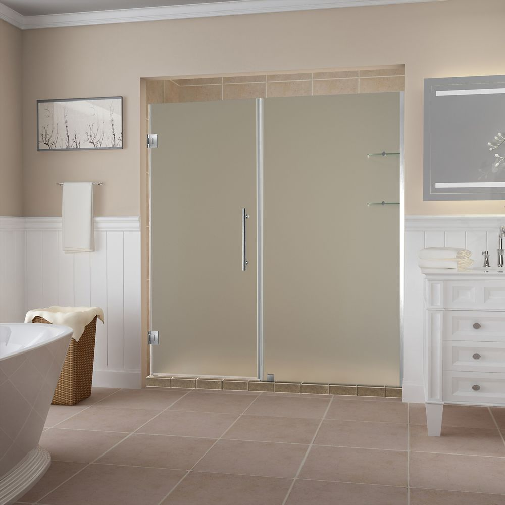 Aston Belmore GS 64.25 - 65.25 x 72 inch Frameless Hinged Shower Door w/ Shelves, Frosted, Stainless Steel