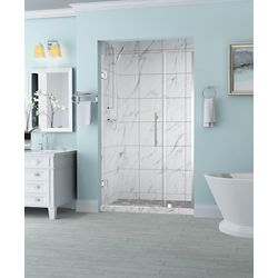 Aston Belmore 33.25 inch to 34.25 inch x 72 inch Frameless Hinged Shower Door in Chrome