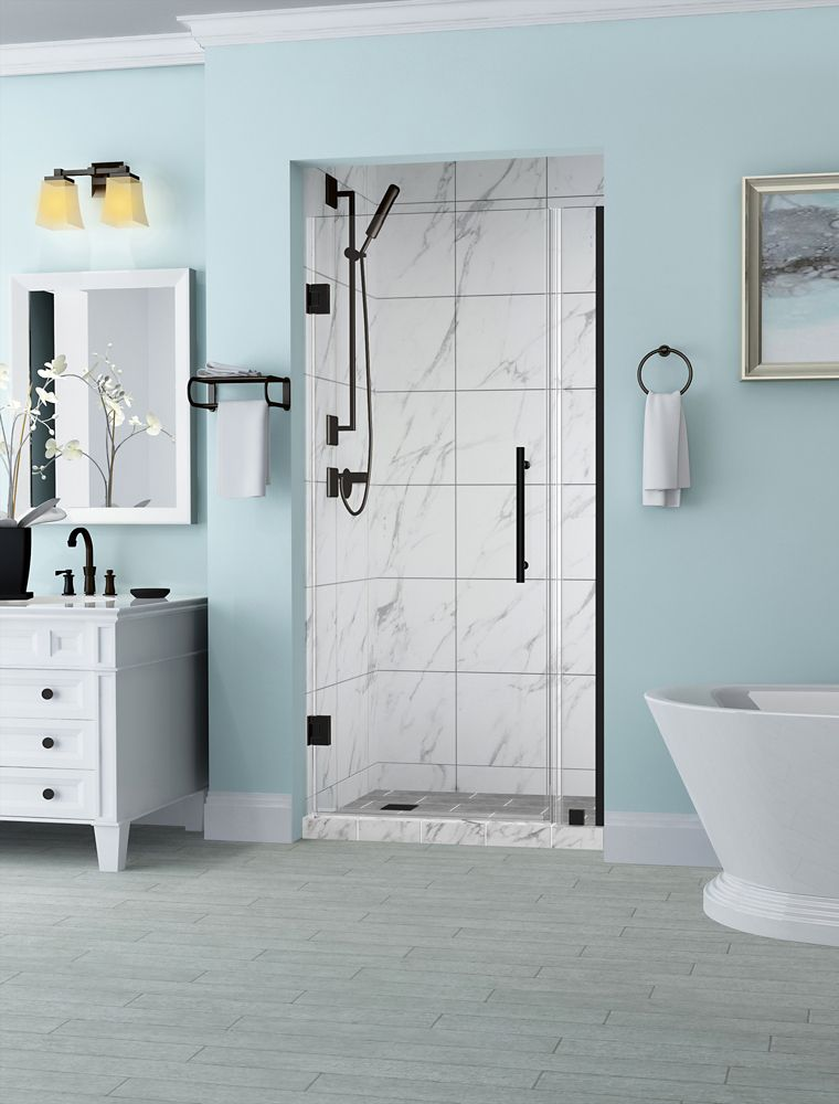 Belmore 30.25 inch to 31.25 inch x 72 inch Frameless Hinged Shower Door in Oil Rubbed Bronze