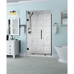 Aston Belmore 32.25 inch to 33.25 inch x 72 inch Frameless Hinged Shower Door in Oil Rubbed Bronze