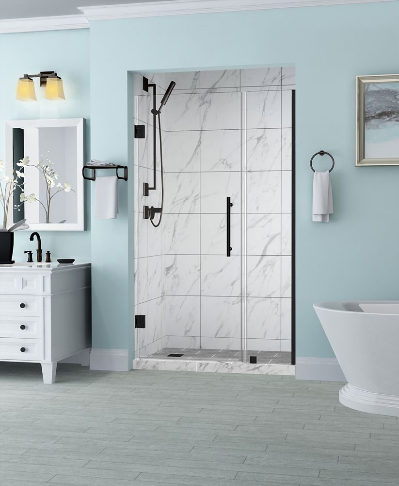 Aston Belmore 43.25 inch to 44.25 inch x 72 inch Frameless Hinged Shower Door in Oil Rubbed Bronze