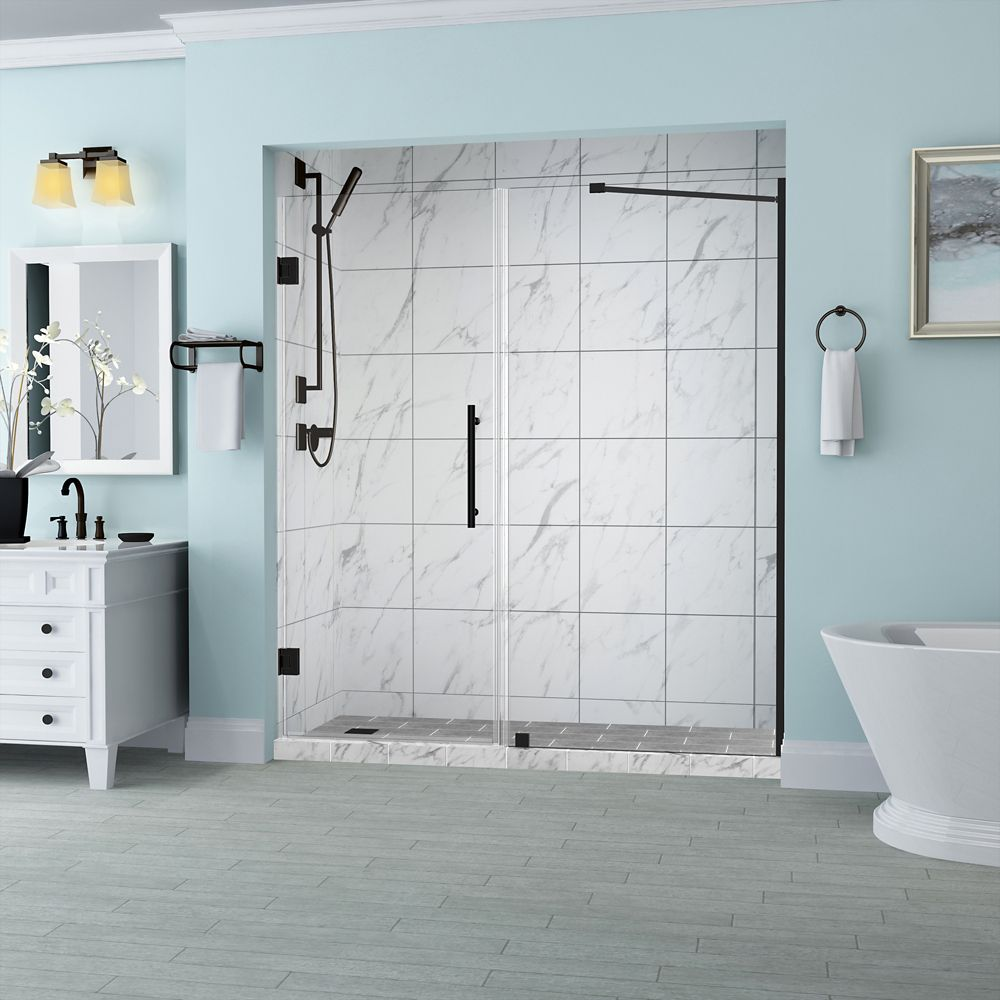 Belmore 62.25 inch to 63.25 inch x 72 inch Frameless Hinged Shower Door in Oil Rubbed Bronze