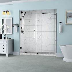 Aston Belmore 62.25 inch to 63.25 inch x 72 inch Frameless Hinged Shower Door in Oil Rubbed Bronze