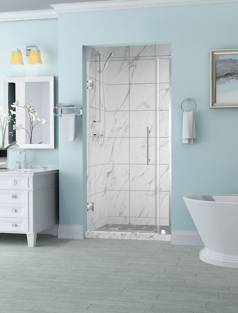 Aston Belmore 30.25 inch to 31.25 inch x 72 inch Frameless Hinged Shower Door in Stainless Steel