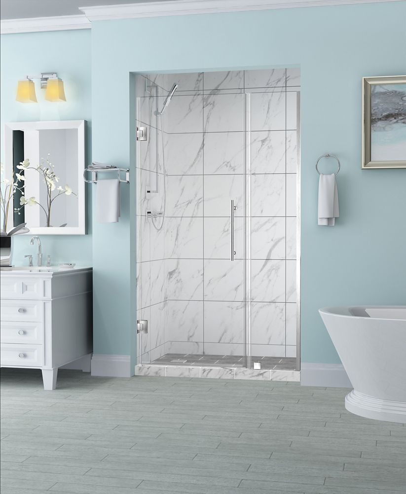 Aston Belmore 33.25 inch to 34.25 inch x 72 inch Frameless Hinged Shower Door in Stainless Steel