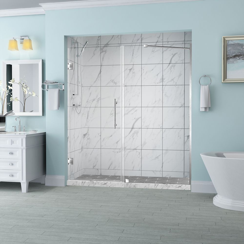 Aston Belmore 61.25 inch to 62.25 inch x 72 inch Frameless Hinged Shower Door in Stainless Steel