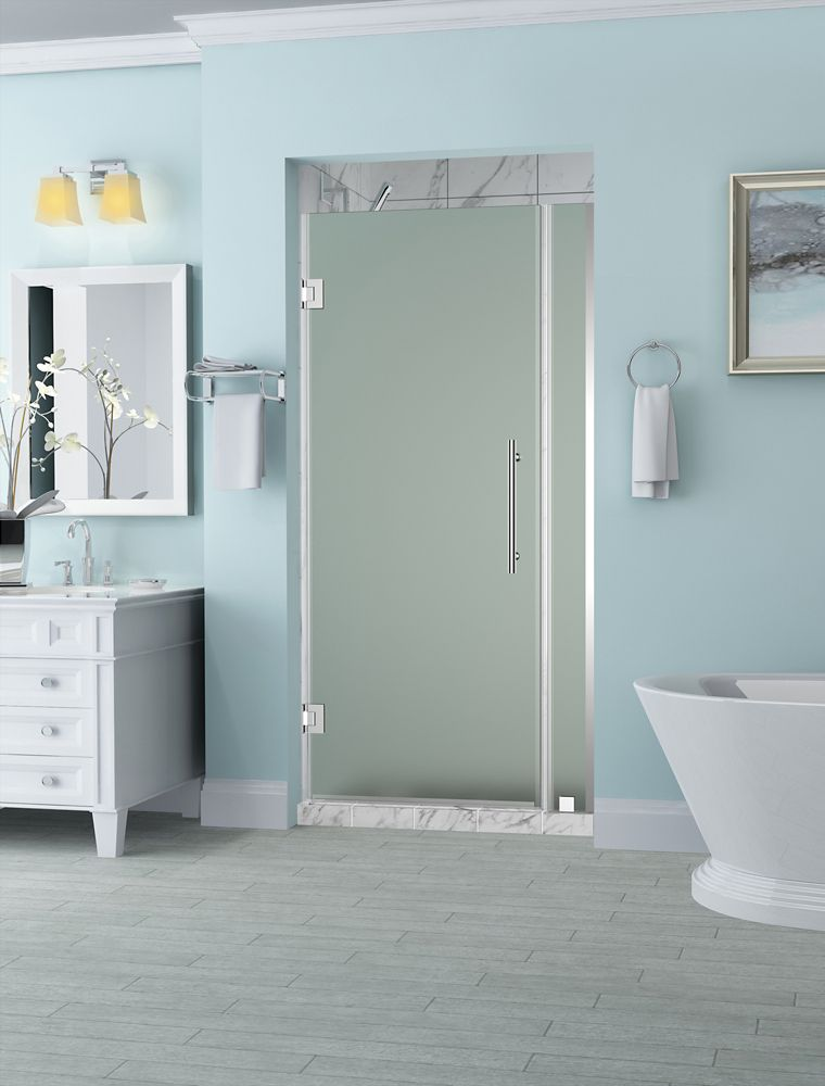 Belmore 29.25 inch to 30.25 inch x 72 inch Frameless Hinged Shower Door with Frosted Glass in Chrome