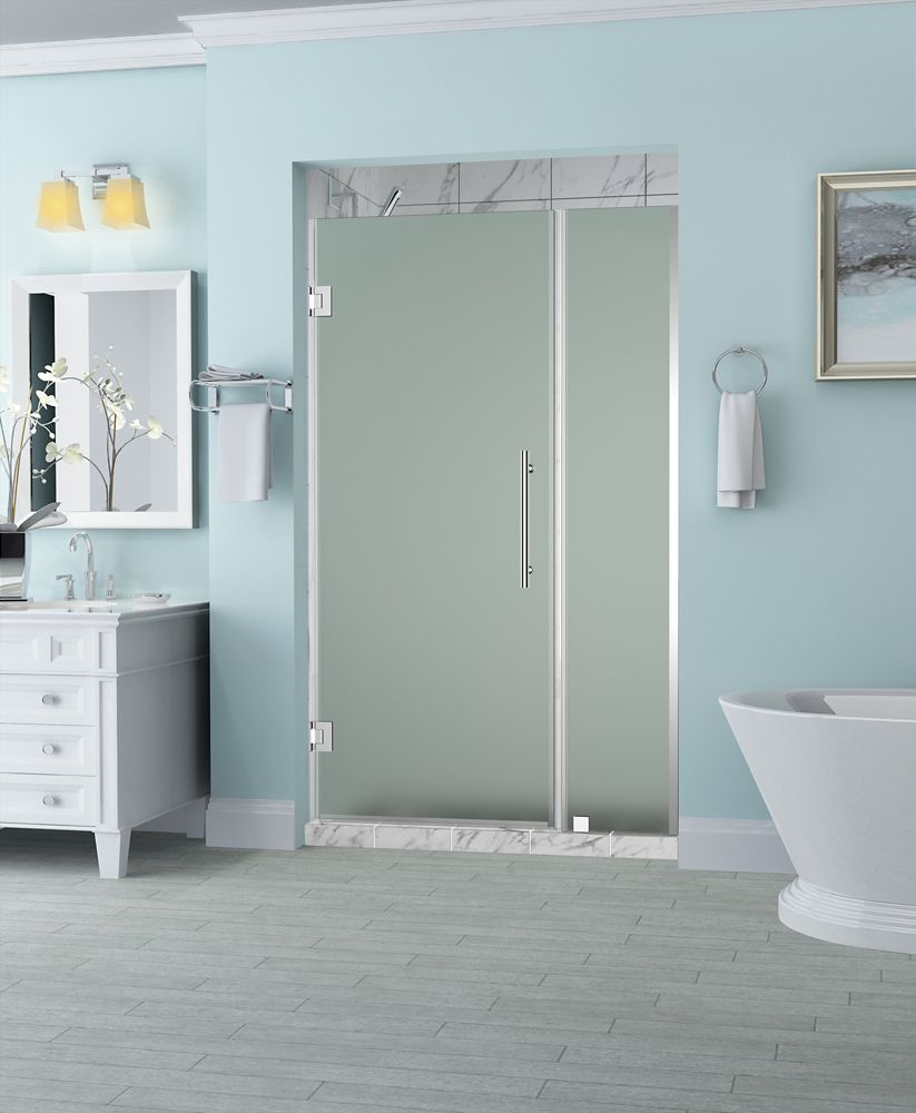 Aston Belmore 32.25 inch to 33.25 inch x 72 inch Frameless Hinged Shower Door with Frosted Glass in Chrome