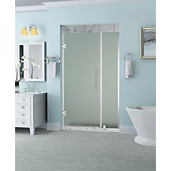 Aston Belmore 35.25 inch to 36.25 inch x 72 inch Frameless Hinged Shower Door with Frosted Glass in Chrome