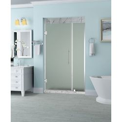 Aston Belmore 38.25 inch to 39.25 inch x 72 inch Frameless Hinged Shower Door with Frosted Glass in Chrome