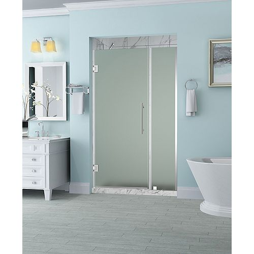 Aston Belmore 42.25 inch to 43.25 inch x 72 inch Frameless Hinged Shower Door with Frosted Glass in Chrome