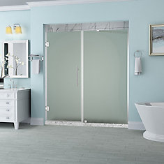 Belmore 58.25 in. to 59.25 in. x 72 in. Frameless Hinged Shower Door with Frosted Glass in Chrome