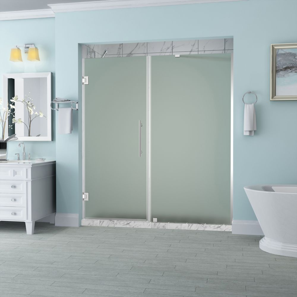 Belmore 62.25 inch to 63.25 inch x 72 inch Frameless Hinged Shower Door with Frosted Glass in Chrome