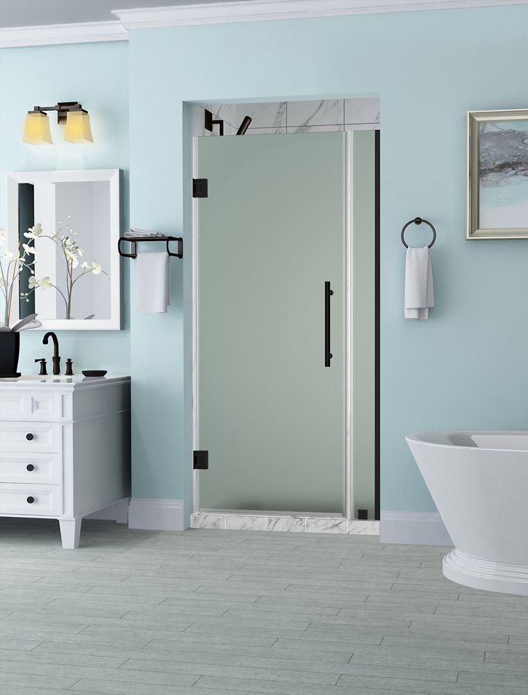 Belmore 27.25 - 28.25  x 72 inch Frameless Hinged Shower Door with Frosted Glass in Oil Rubbed Bronze