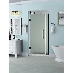 Aston Belmore 29.25 - 30.25 x 72 inch Frameless Hinged Shower Door with Frosted Glass in Oil Rubbed Bronze