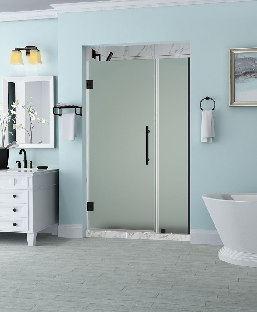 Aston Belmore 34.25 - 35.25  x 72 inch Frameless Hinged Shower Door with Frosted Glass in Oil Rubbed Bronze