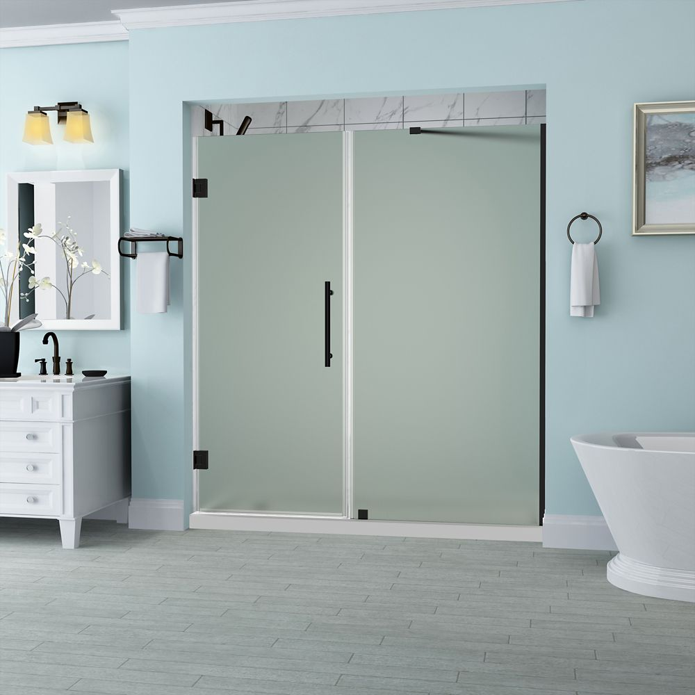 Aston Belmore 63.25 - 64.25  x 72 inch Frameless Hinged Shower Door with Frosted Glass in Oil Rubbed Bronze