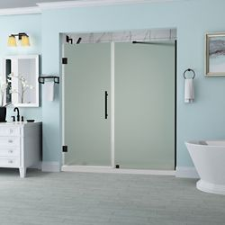 Aston Belmore 68.25 - 69.25  x 72 inch Frameless Hinged Shower Door with Frosted Glass in Oil Rubbed Bronze